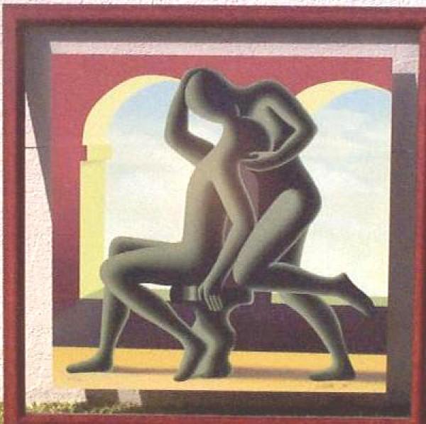 """Golden Kiss"" Trial Proff, Framed Serigraph by Mark Kostabi"