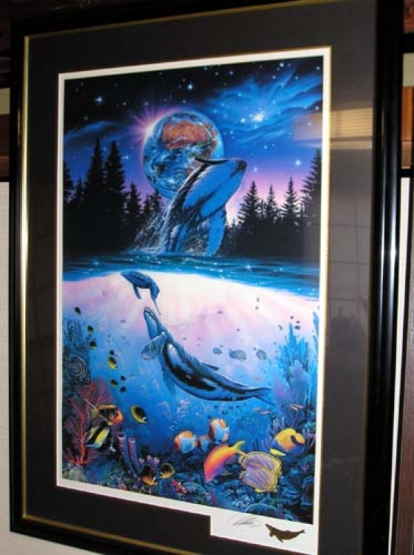 """Whale Star"" Mixed Media Graphic on Paper by Christian Riese Lassen"