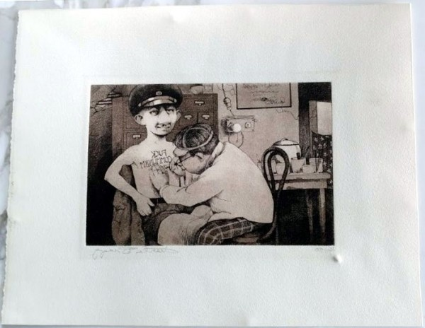 """""""Fuck Communism"""" Etching by Charles Ray Bragg"""