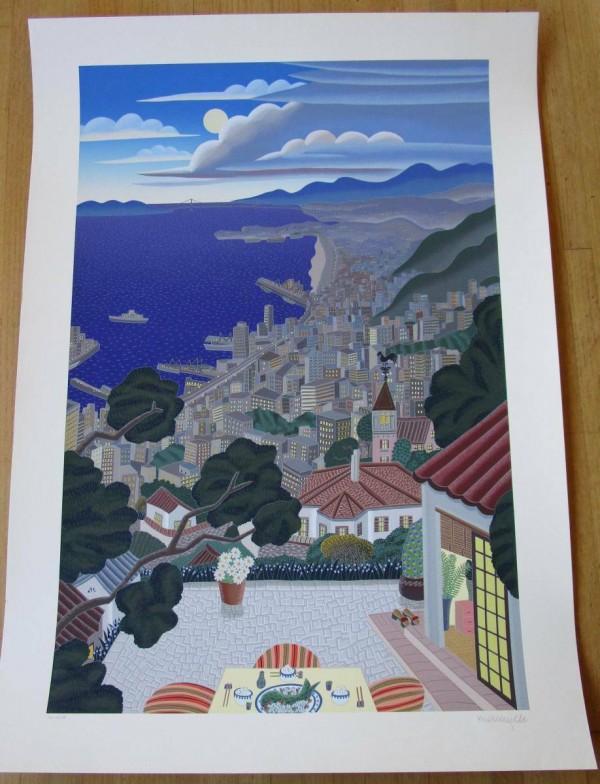 ''Kobe Coast at Night'' Serigraph on Paper by Thomas McKnight