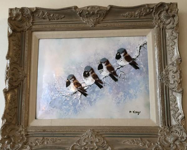 """""""Snow Birds"""" Original Enamel on Copper by Max Karp"""