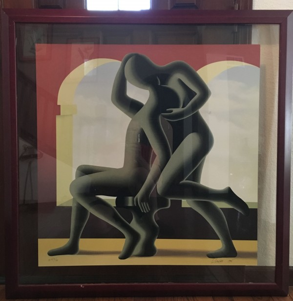 """The Kiss"" Framed Serigraph by Mark Kostabi"