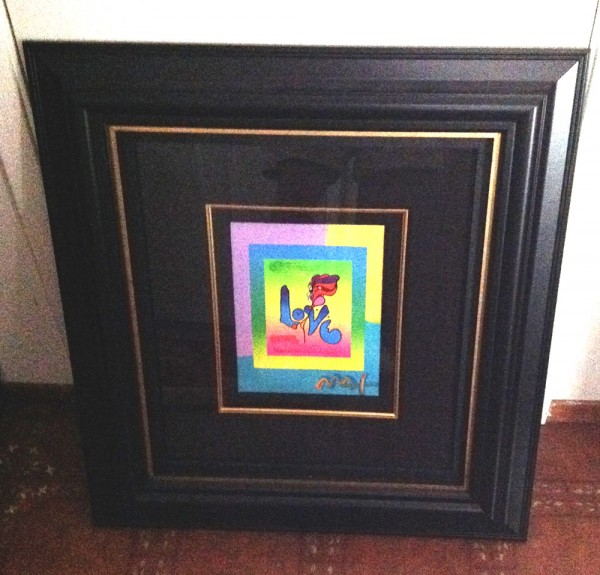 """Love on Blends"" Framed Original Mixed Media Unique by Peter Max"