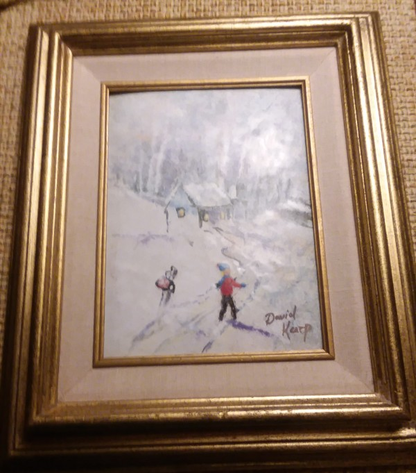 """Boy In Snow"" Original Enamel on Copper by David Karp"