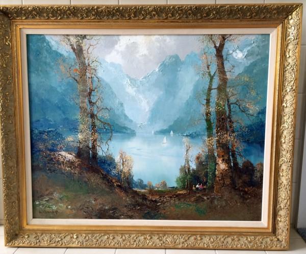 """Fjords"" Lake Scene Original Oil on Canvas by Willi Bauer"