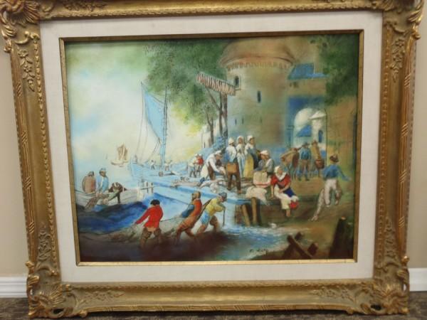 """Fisherman's Wharf"" Framed Original Enamel on Copper by Max Karp"