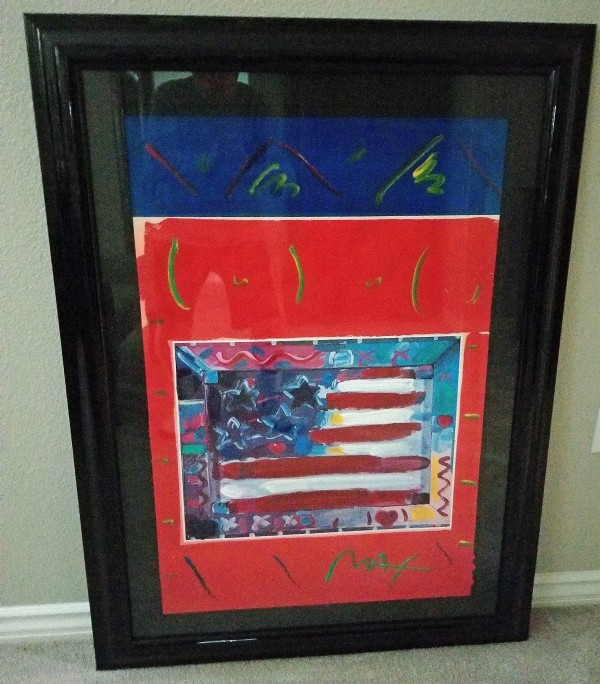 """""""Flag with Heart, Leningrad No.3"""" Original Mixed Media Acrylic on Lithograph by Peter Max"""