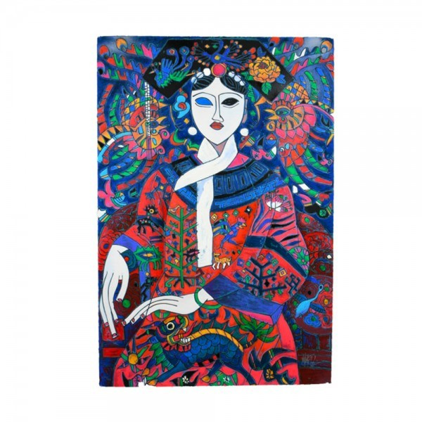 """""""The Empress"""" 1992 Serigraph on Heavy Hand Deckled Paper  by Jiang Tie-Feng"""