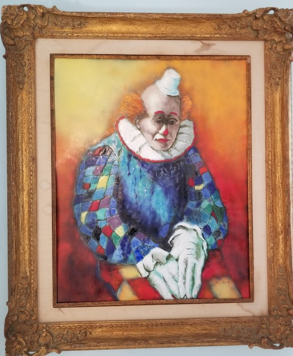 """""""Seated Clown"""" Enamel on Copper by Max Karp"""
