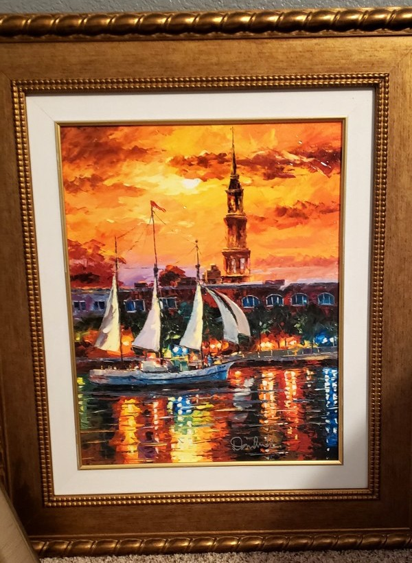 """""""Charleston Waterfront"""" Hand-Embellished Giclee on Canvas by Daniel Wall"""