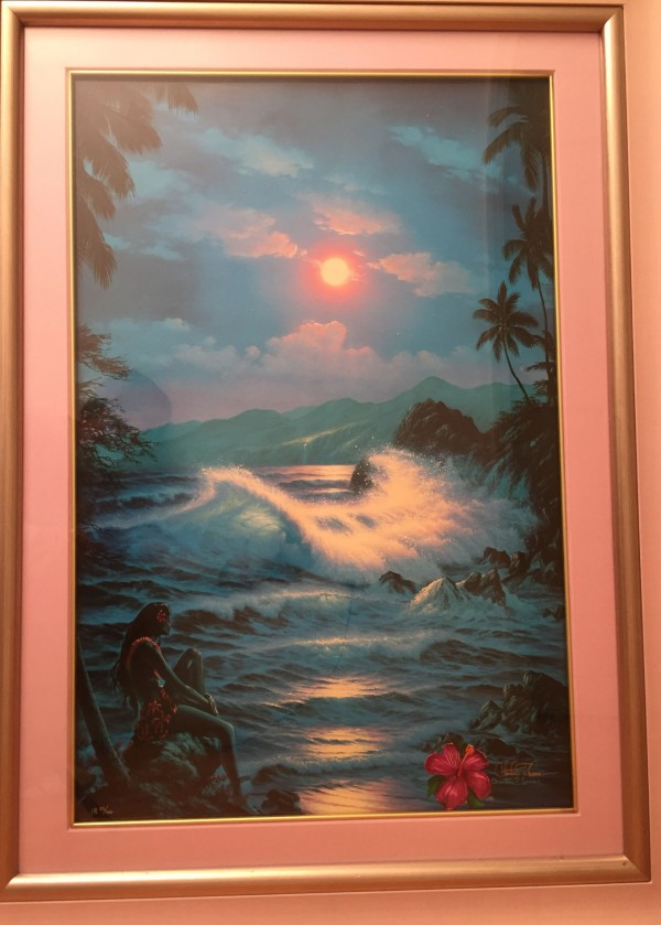 """""""Blue Hanna Moon"""" serigraph with diamonds and remarque by Christian Riese Lassen"""
