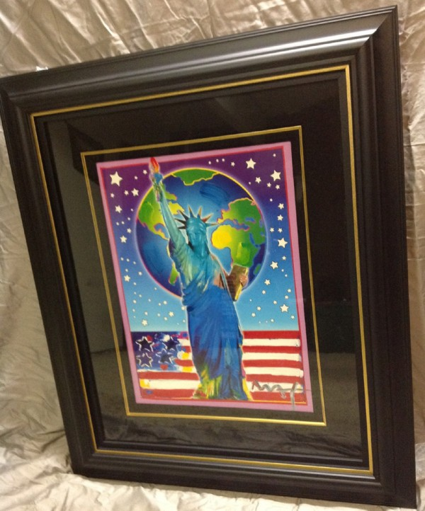 """""""Peace On Earth III"""" Framed Mixed Media Unique Acrylic on Lithograph by Peter Max"""