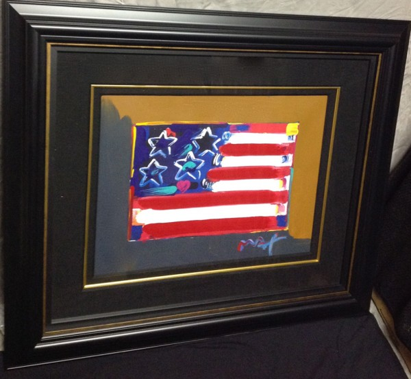 """""""Flag With Heart"""" Series III, Framed Unique Mixed Media Acrylic on Lithograph by Peter Max"""