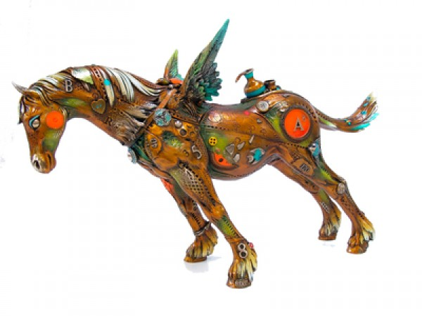 """Arthur the Believer "" bronze sculpture by Nano Lope"