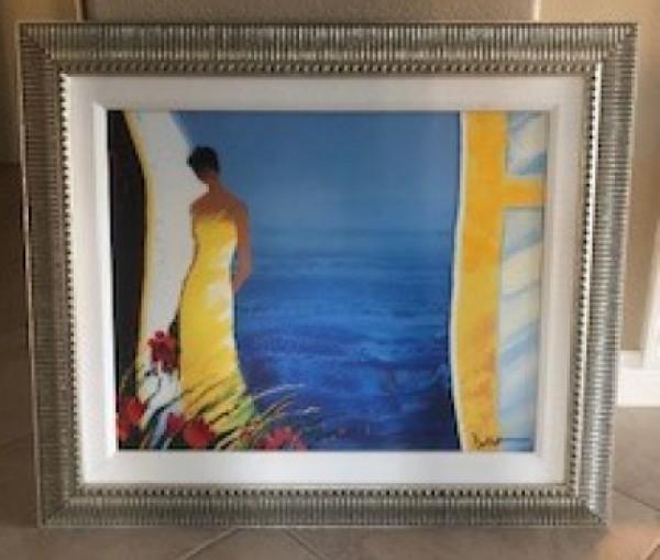 """Douceur Bleue"" Hand-Embellished Giclee on Canvas by Emile Bellet"