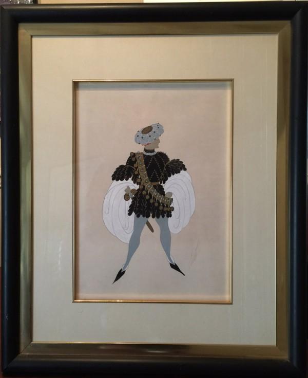 """Monsieur de Busseroles"" 1936 Framed  Original Goauche by Erte"