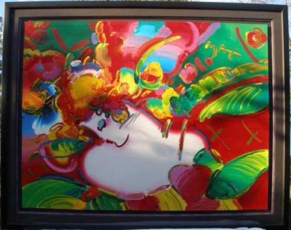 """""""Flower Blossom Lady"""" Original Unique Framed Acrylic/Serigraph by Peter Max"""