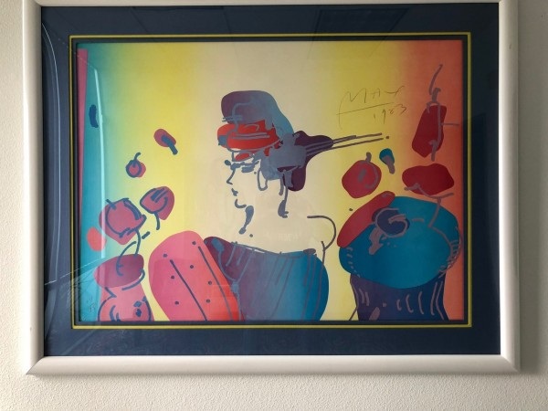 """Lady With Flowers"" Lithograph by Peter Max from the Ladies of the 80's Suite"