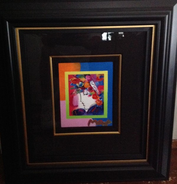 """Blushing Beauty on Blends"" Framed Unique Mixed Media Acrylic on Color Lithograph by Peter Max"