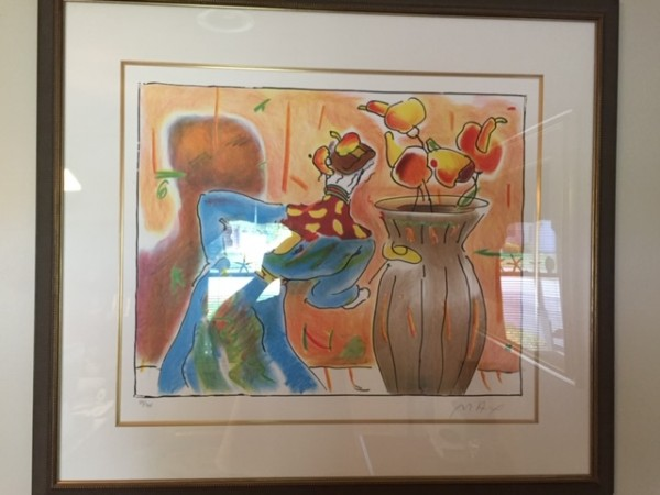 """Robed Man and Vase"" Lithograph on Arches by Peter Max"