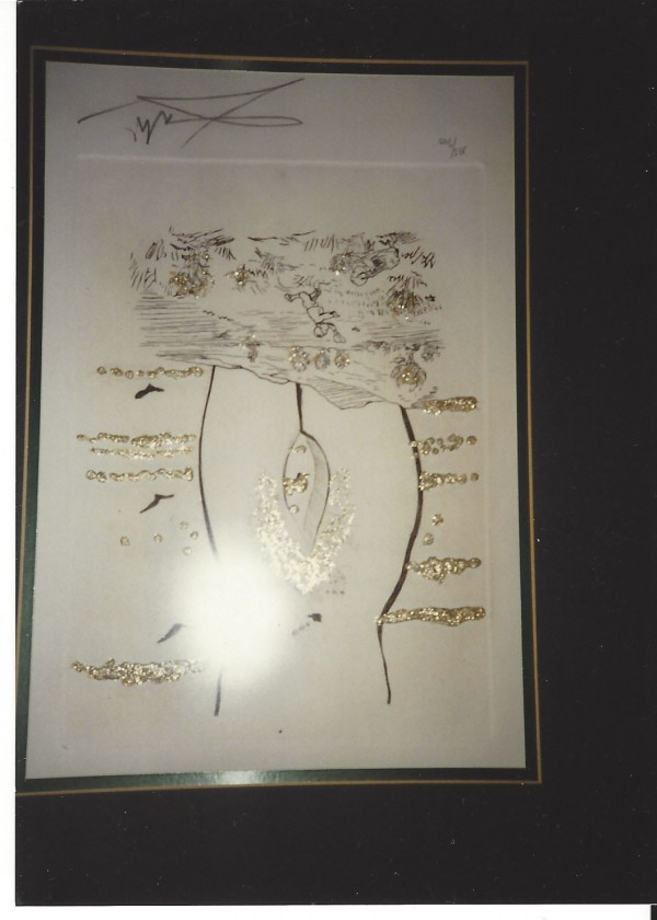 """""""To The Eternal Madam"""" (à l'Eternel Madame) from """"The Golden Loves"""" Suite (Les Amours Jaunes) Framed Etching with Gold Flakes by Salador Dali"""