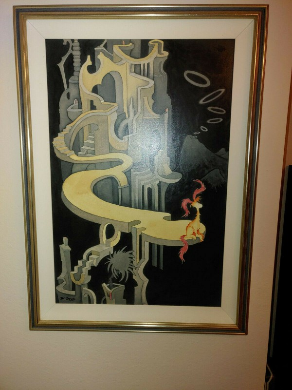 """""""Pink Tufted Beast in a Night Landscape"""" Serigraph on Canvas by Dr. Seuss"""