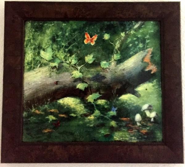 """Butterflies in the Forest"" Original Enamel on Copper by Max Karp"