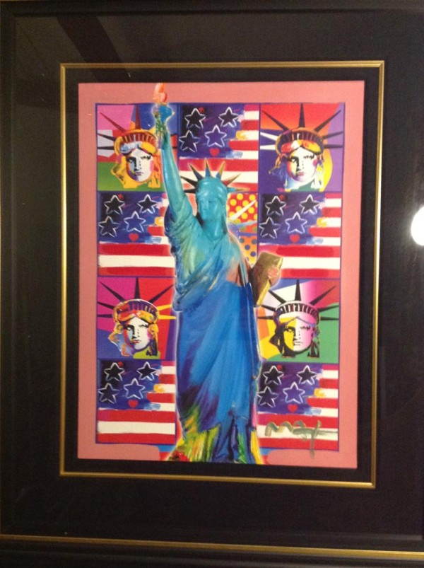 """God Bless America"" with 5 Liberties Framed Unique Mixed Media Acrylic on Color Lithograph by Peter Max"