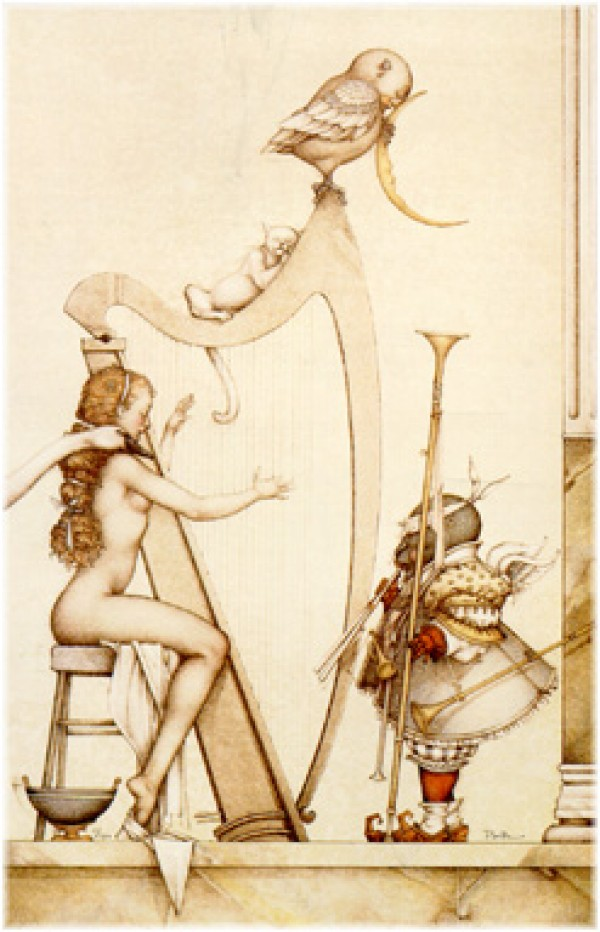 """Moon Harp"" Stone Lithograph by Michael Parkes"