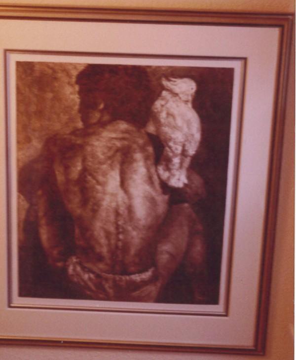 """Man & Bird"" Framed Monoprint by Dario Campanile"
