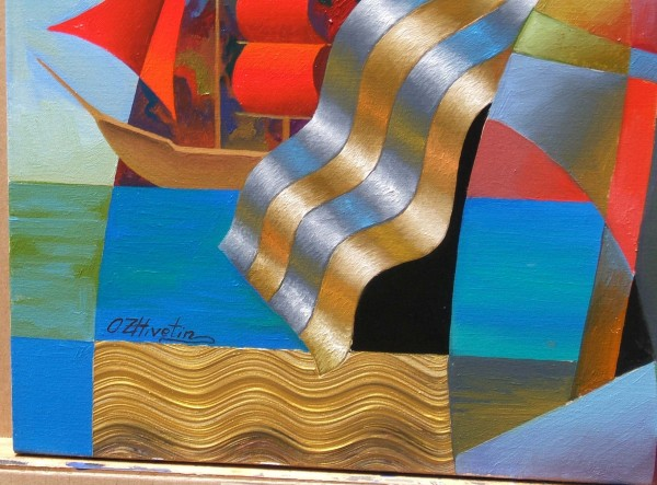 """""""The Red Sails"""" Original Mixed Media on Canvas"""