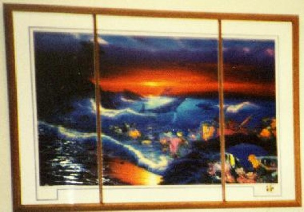 """""""Sea Vision"""" Triptych Framed  Mixed Media Graphic With Remarque by Christian Riese Lassen"""