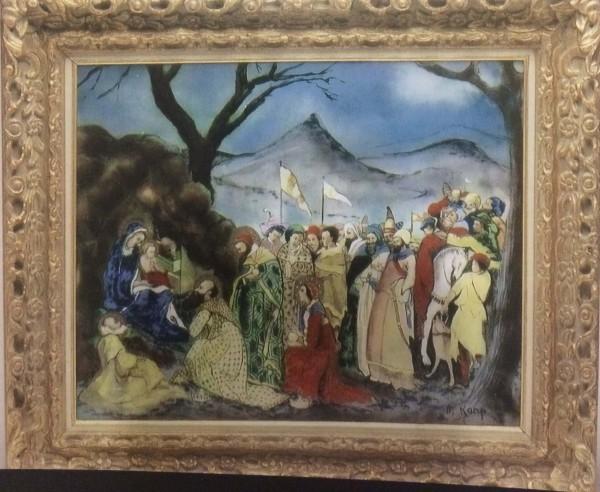 """The Nativity"" Framed Original Enamel on Copper by Max Karp"