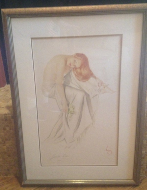 """Jeanne Dean"" Framed Lithograph/arches by Alberto Vargas"