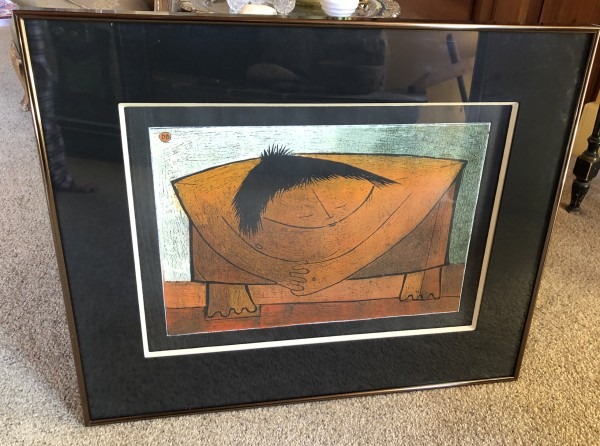 """Grand Dame"" Linocut by Angel Botello"