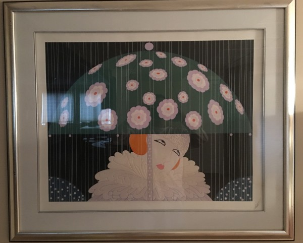 """""""Spring Showers"""" Serigraph on Paper by Erte"""