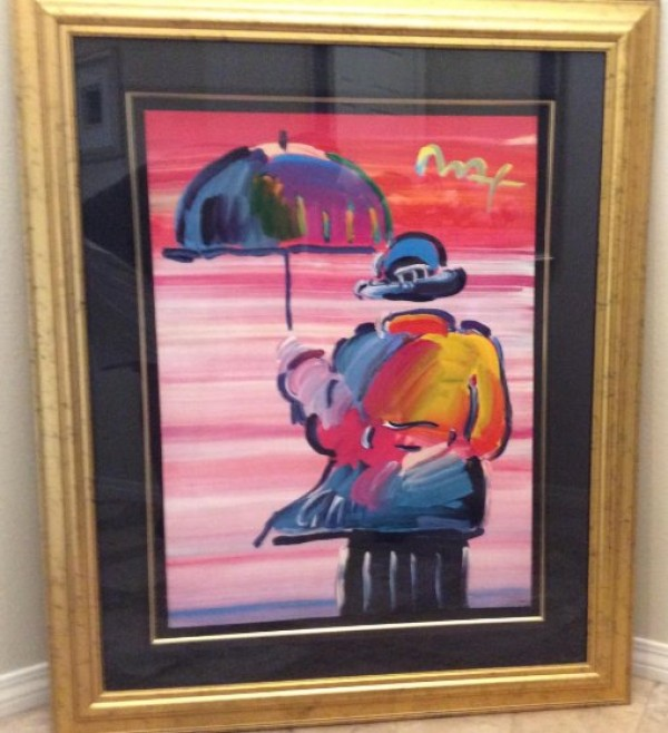 """Umbrella Man '99"" Framed Unique Mixed Media acrylic on Lithograph by Peter Max"