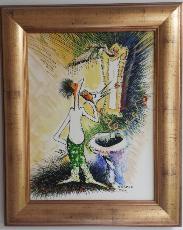 """Self-Portrait of a Young Man Shaving"" Framed Serigraph on Canvas by Dr. Seuss"