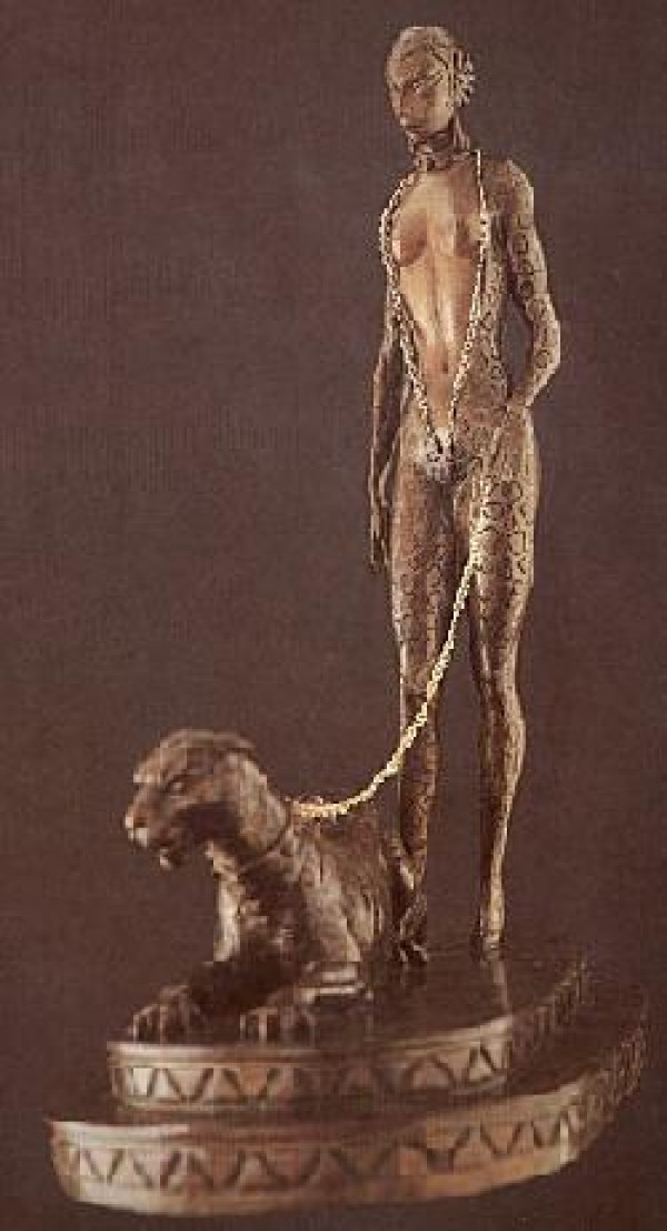 """La Femme a la Panthere"" Bronze Sculpture by Erte"