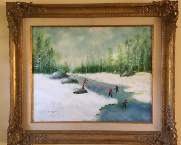 """Skating at Christmas"" Original Enamel on Copper by Max Karp"