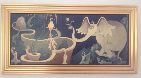 """""""Elephant Presenting A Flower to A Bird"""" Serigraph on Canvas by Dr. Seuss"""