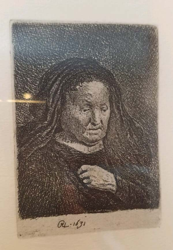 """""""The Artist's Mother with her Hand on her Chest"""": Small Bust Etching by Rembrandt"""
