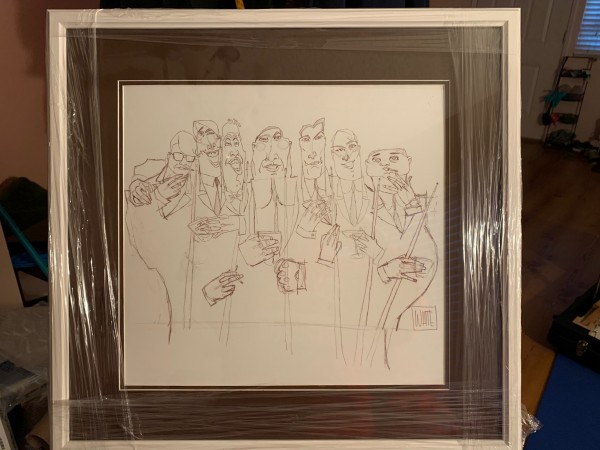 """""""The Dinner Meeting"""" Original Ink Drawing on Paper by Todd White"""