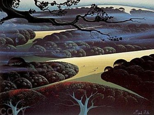 """Blue Fog"" Serigraph by Eyvind Earle"
