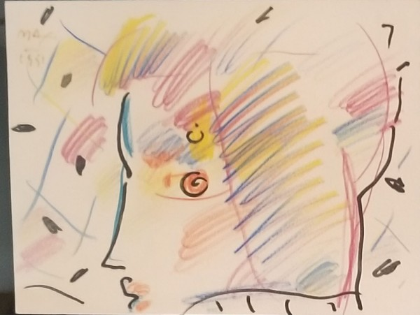 """""""Profile"""" Original drawing with pen and colored pencil by Peter Max"""