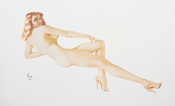 """Legacy Nude #5, """"Red Fire"""" Lithograph/Arches by Alberto Vargas"""