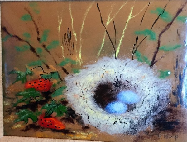 """""""Bird's Egg With Strawberries"""" enamel on copper by Max Karp"""