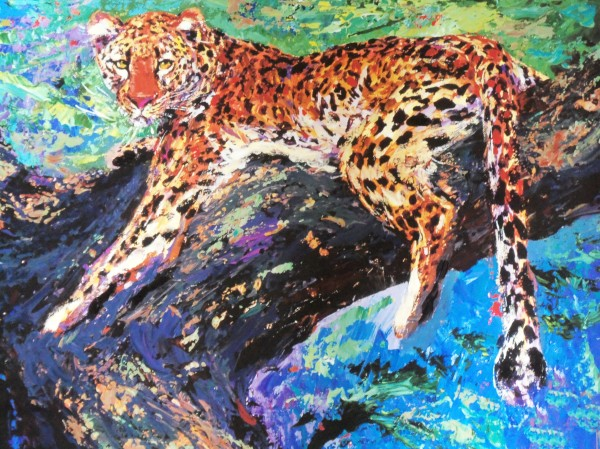 """""""Reclining Leopard"""" Embellished Giclee on Canvas"""