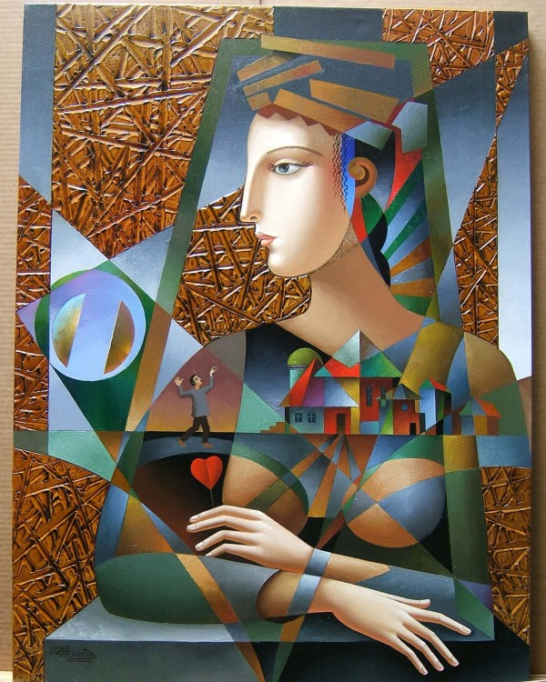 """Honey, I'm Home"" Original Mixed Media on Canvas by Oleg Zhivetin"