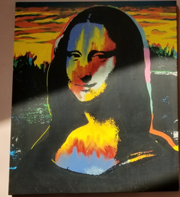 """Mona Lisa - Sunset"" Embellished Mixed Media Silkscreen on Canvas by Steve Kaufman"